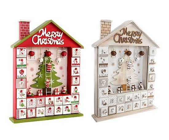 Set de 2 calendarios de adviento en madera, rojo y gris - 29x37 cm