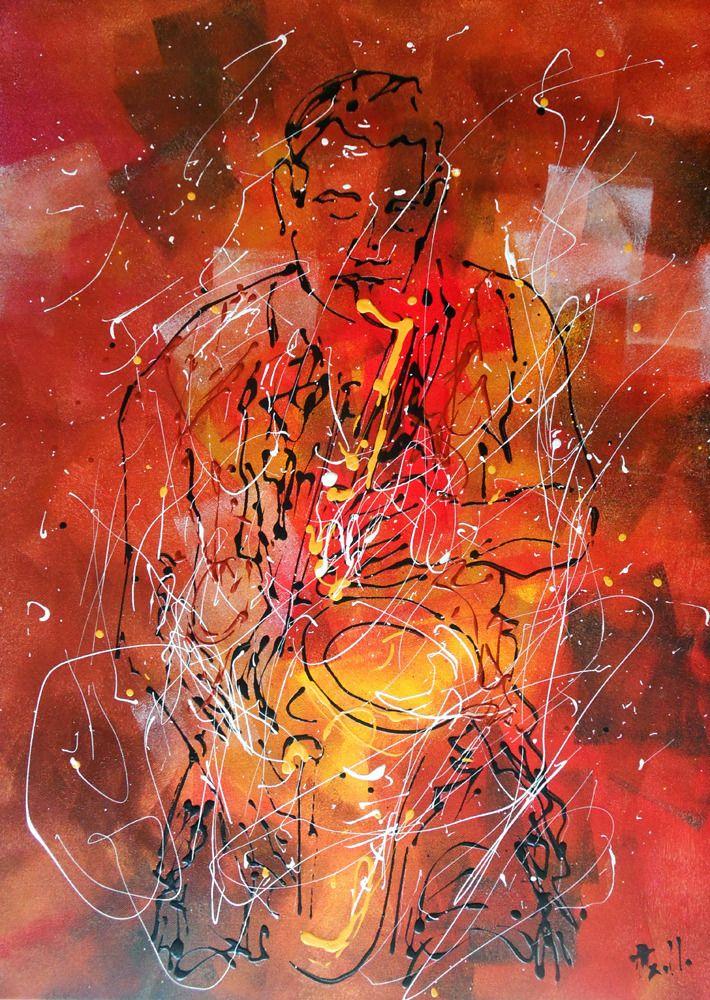 Tableau le saxo jazz peinture intuitive peintures for Tableau peinture