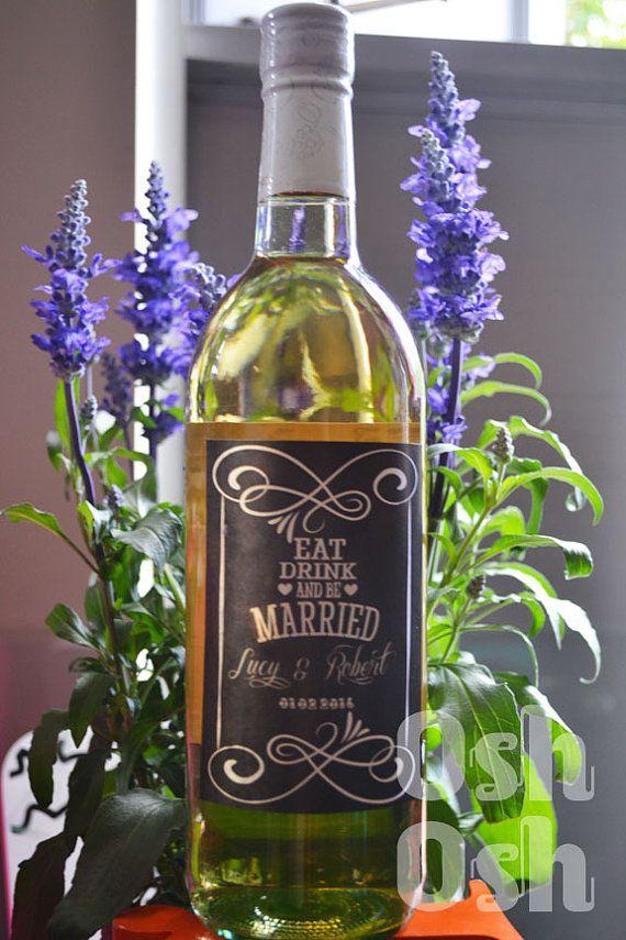 Printable Wedding Wine Label  Personalized Label by OshOshStudio, $15.00