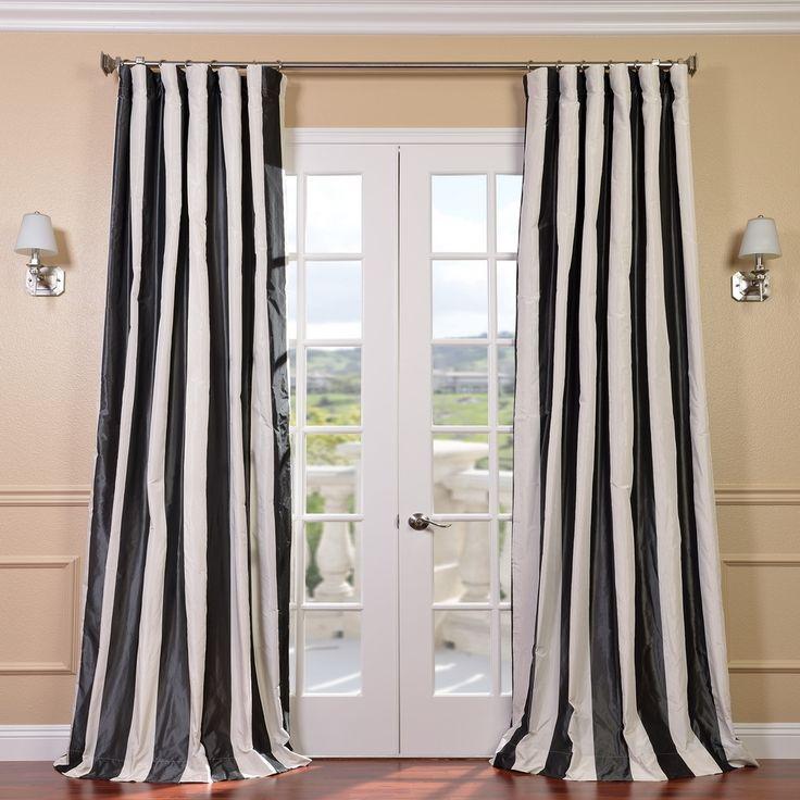 exclusive fabrics signature stripe dark grey white faux silk taffeta curtain panel by exclusive fabrics - 96 Inch Curtains