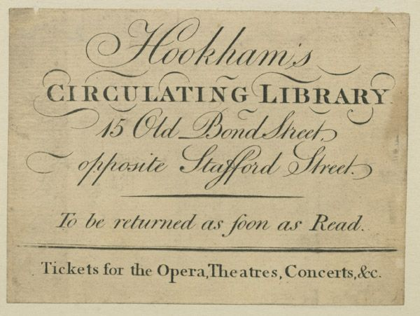 A Miss White gave me her  key  for Hookham Circulating library where  she borrow books.