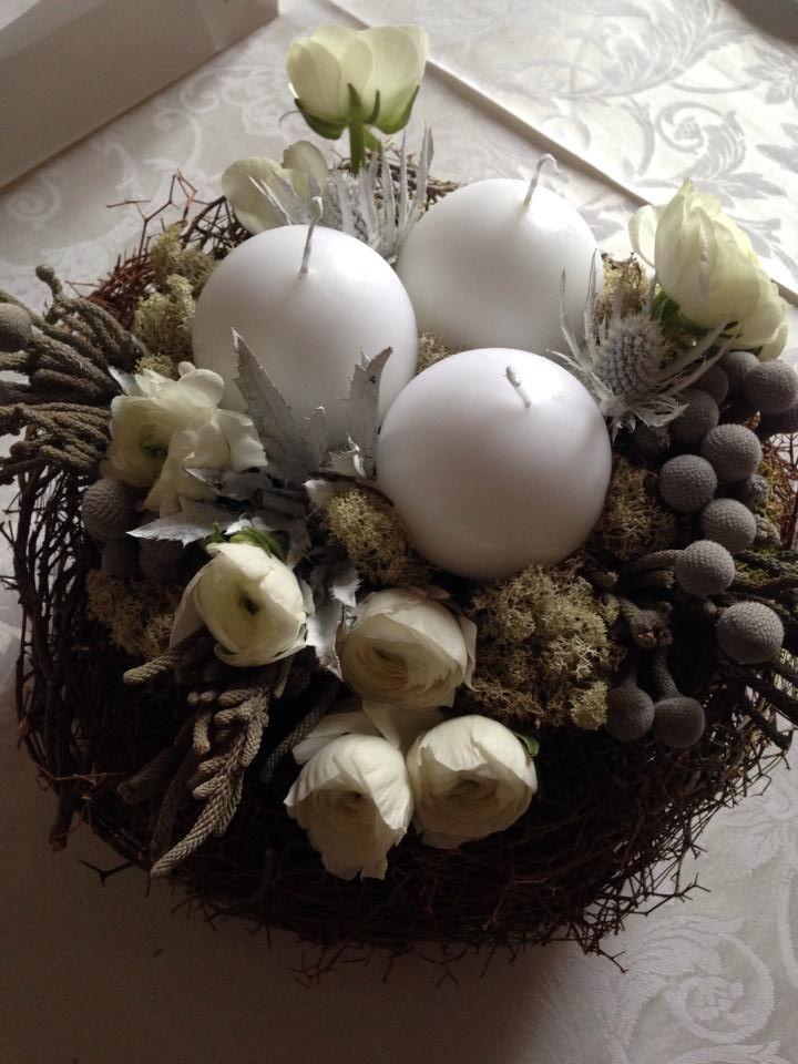 centro tavola, fiori invernali, flowers, nido, candele