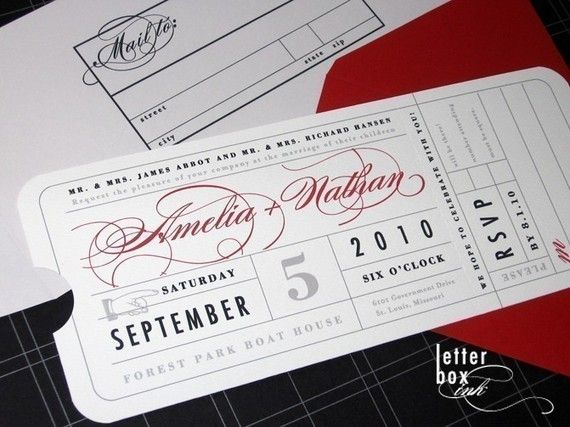 Vintage Ticket Wedding Invitation by LetterBoxInk on Etsy, $4.50
