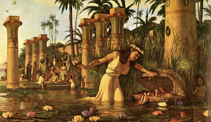She saw the basket among the reeds and sent her female slave to get it.