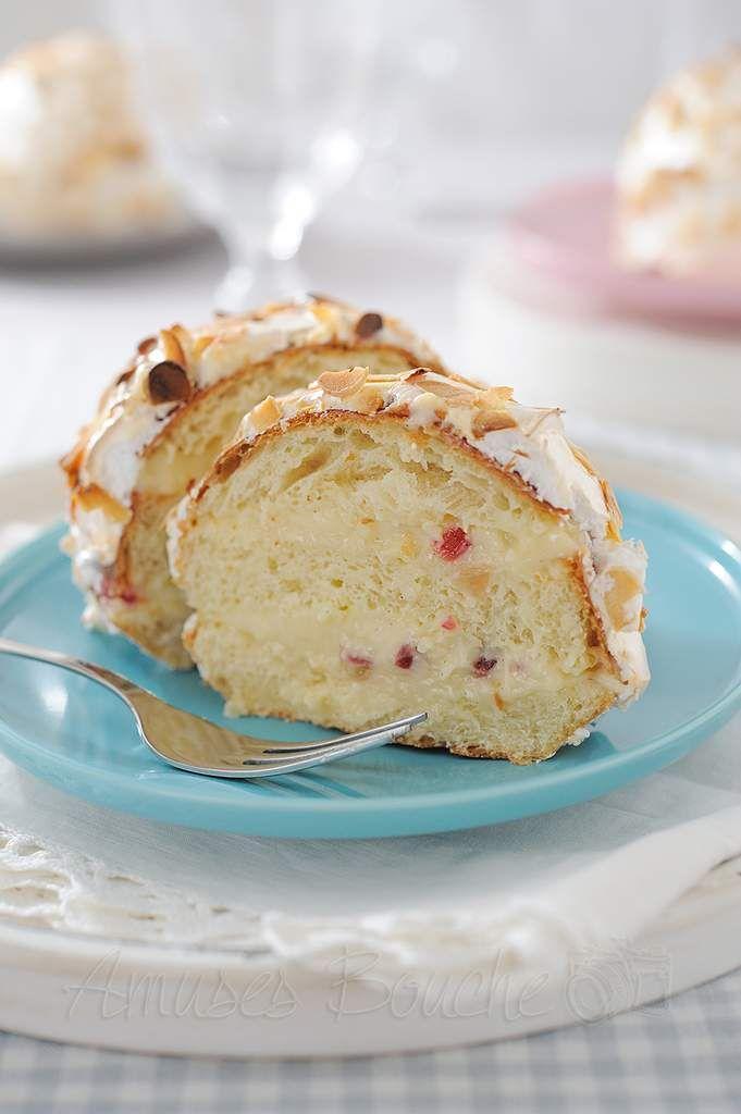 Brioche polonaise fourrée à la crème pâtissière vanille et fruits confits,  imbibée de sirop au rhum et meringuée