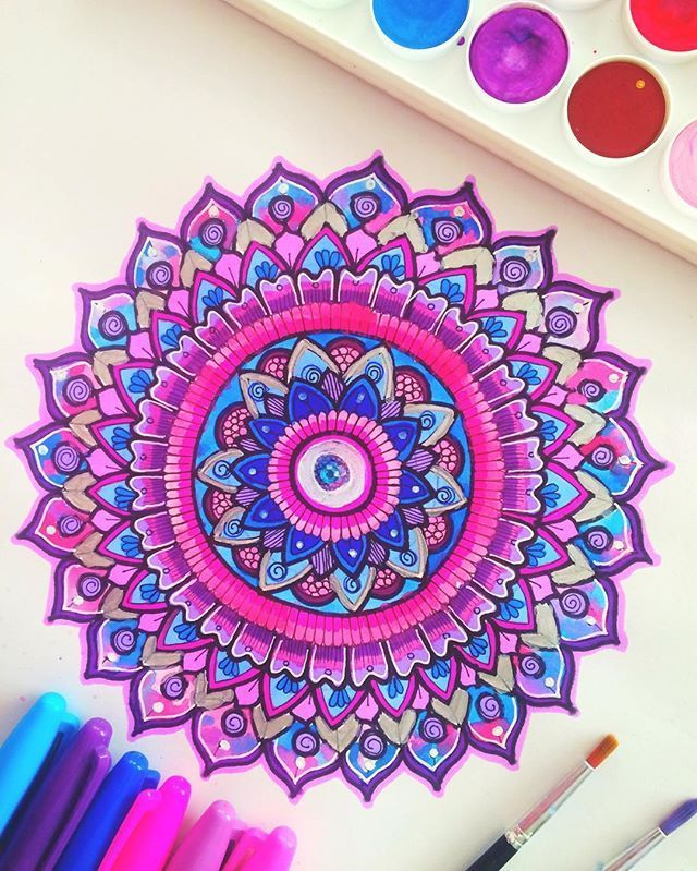 Pink-purple-blue mandala  Hope everyone's having an amazing weekend, this…