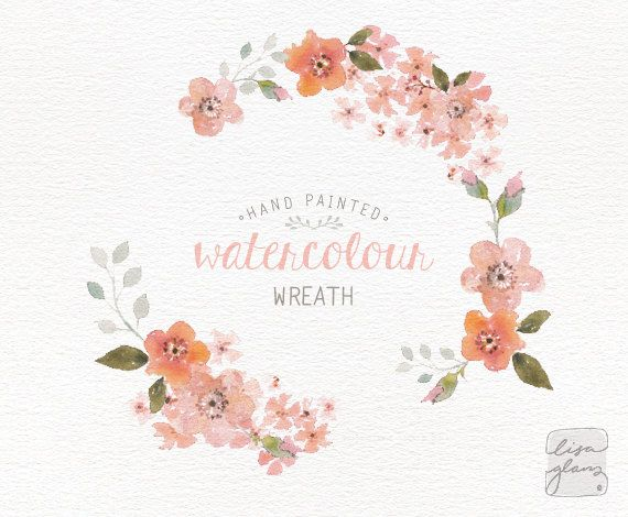 Watercolor wreath: hand painted floral wreath clipart ...