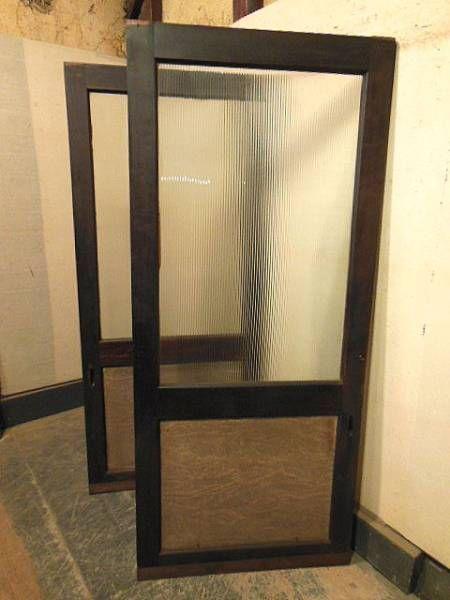 YS1207-8希少細モールガラス玄関戸二枚組/時代建具時代箪笥民芸 - ヤフオク!