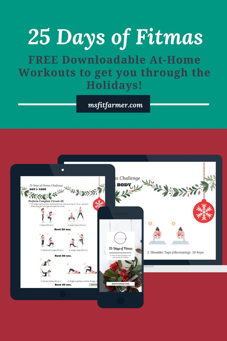 25 Days of Fitmas   Holiday Workout Challenge   Free Workouts   At-Home Workouts   More Health and Fitness at www.msfitfarmer.com via @msfitfarmer