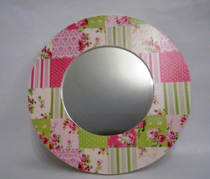 Espejo redondo de madera con patchwork espejos pinterest for Espejo redondo madera