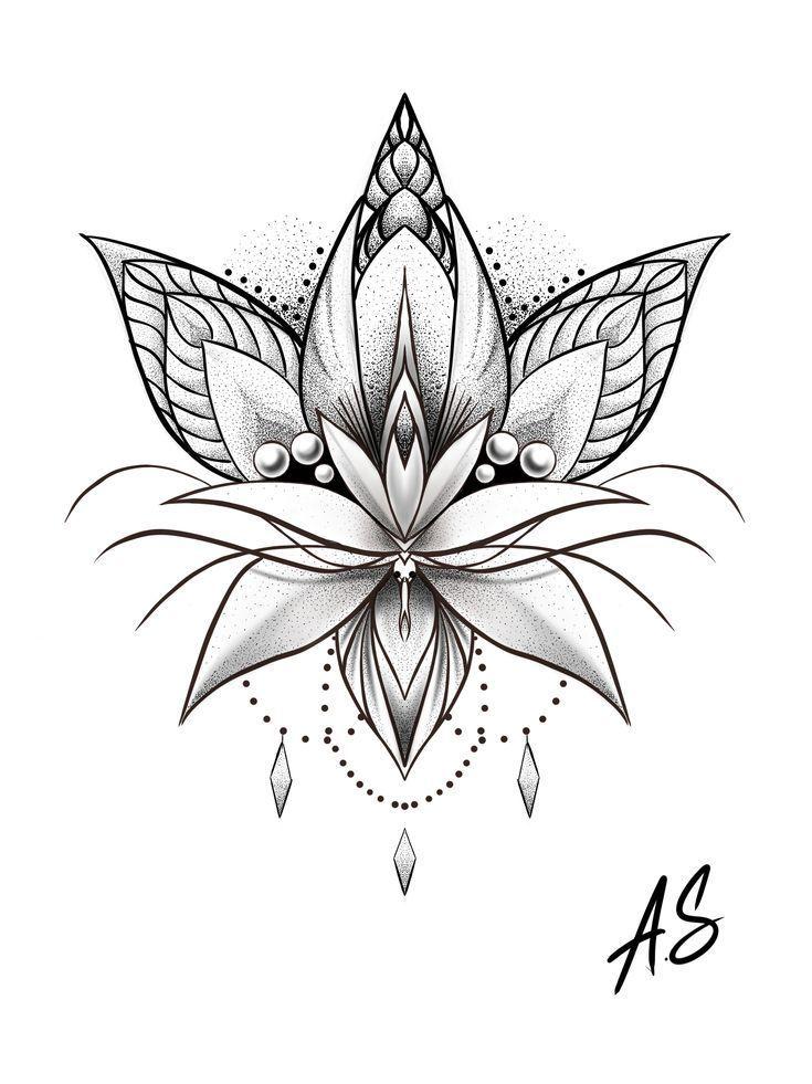 Mandala Dotwork Lotus Artwork von Adison #Tattoos #Tattoosquotes #flowerTattoos #… #Tattoos #Ale