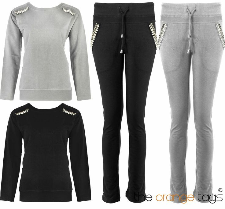 LADIES DIAMANTE TRACKSUIT WOMENS JOGGING BOTTOMS SWEATSHIRT TOP SIZE 8-16 in Clothes, Shoes & Accessories, Women's Clothing, Activewear | eBay