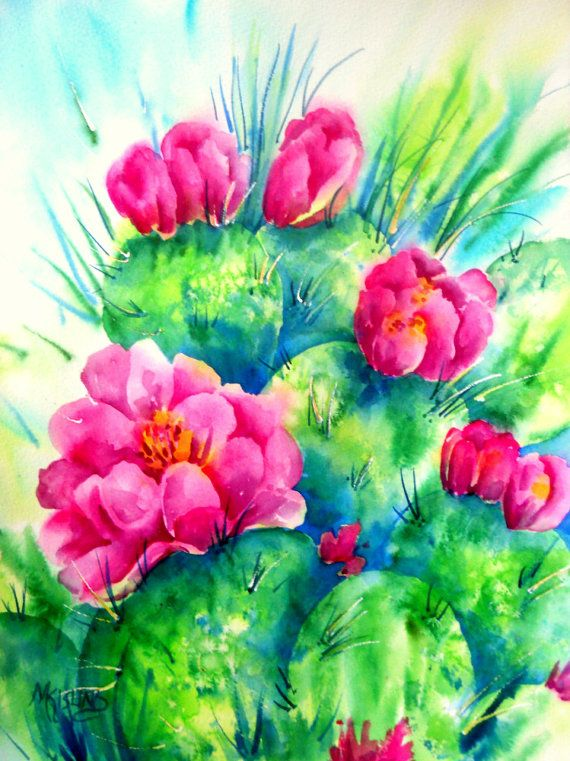 Cactus Flower watercolor, Southwestern Cactus, Santa Fe ...
