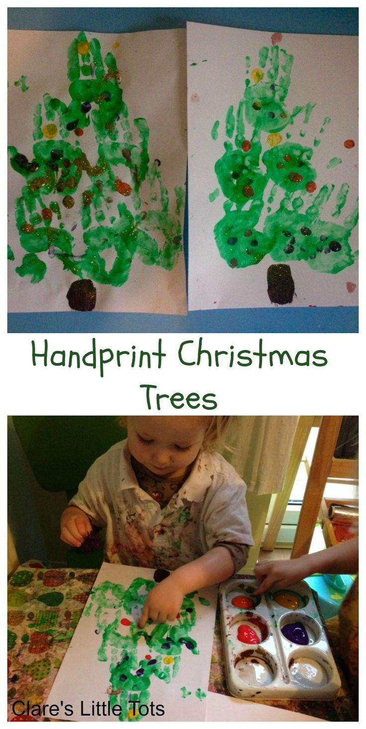 Handprint Christmas tree fun christmas painting idea for toddlers and preschoolers.