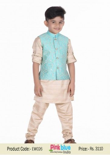 Designer Indian Ethnic Wear for Kids | Wedding Kurta Pajamas for Baby Boys | Children Traditional Outfits with Saw Silk Jacket + Kurta and Pajama for Marriage Functions