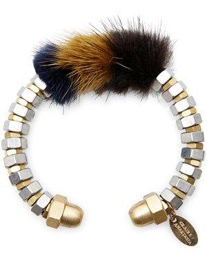 Cuff bracelet with fur