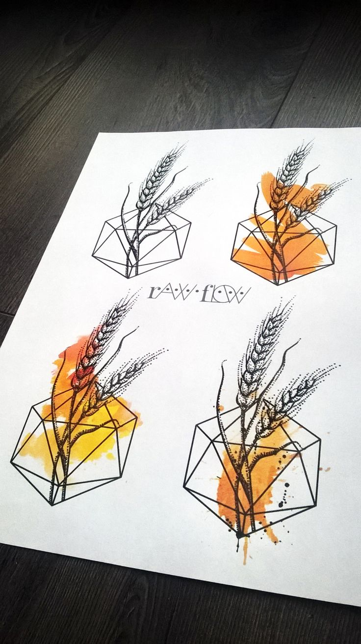 Wheat watercolour dot work tattoo designs by Raw Flow. http://therawflow.tumblr.com