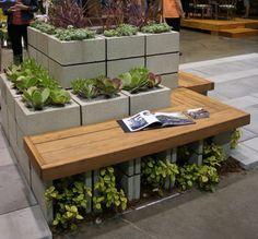 cinder block planter with bench