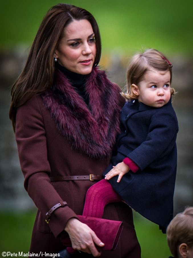 Catherine, Duchess of Cambridge and Princess Charlotte of Cambridge arrive to attend the service at St Mark's Church on Christmas Day on December 25, 2016 in Bucklebury, Berkshire.