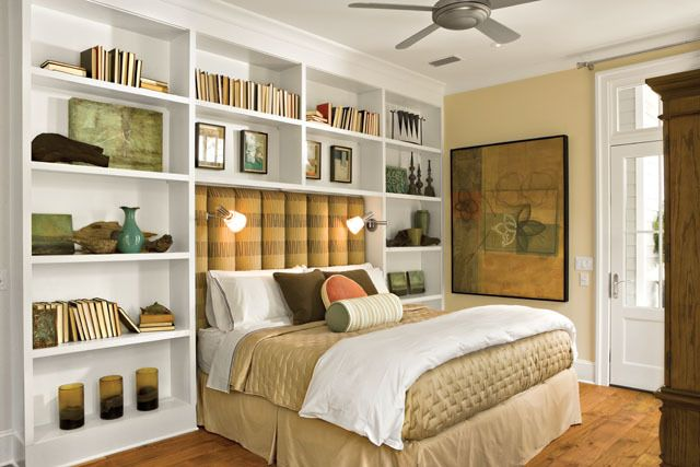 Master Bedroom    possibly put low bookcases under the windows beside the bed which can also serve as bedside tables