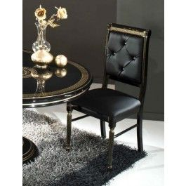 Rosella Italian Classic Black Leather Dining Chair -