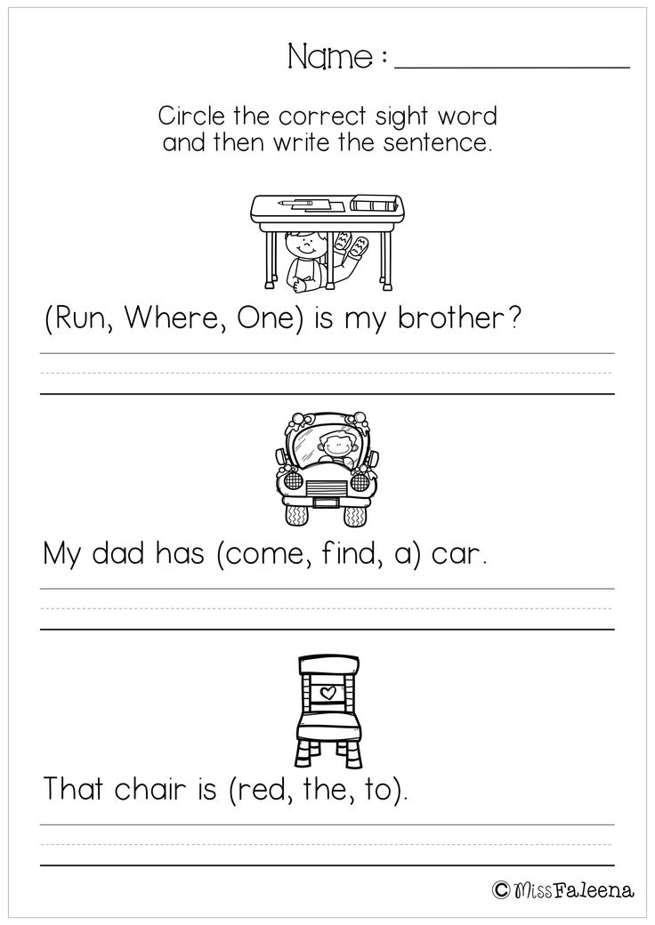 Free Sentence Writing (Sight Word Pre – Primer). These Free writing pages are great for kindergarten and first graders. Children have to choose the correct sight word to make a correct sentence. Children will practice to recognize sight words and write sentences. Children are encouraged to use thinking skills while improving their comprehension and writing skills. These pages are great for morning work, word work and literacy centers.