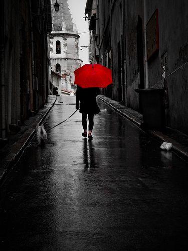 black and white photo with red umbrella several unique