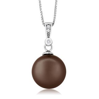Gem Type:       Mother of Pearl Cut:                   Round Color:               Chocolate & White Metal Type:     925 Sterling Silver Pearl:                12mm, Sterling Silver Chain :              18 inches Estimated Retail Price:    $95.00