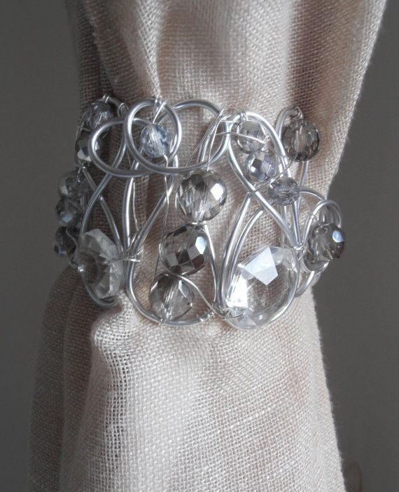 SET OF 2 decorative curtain tiebacks, silver crystals drapery holder tie backs curtain