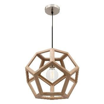 PEETA - 40cm Natural Timber 1 Light Pendant (Globe Not Included) - like this except DON'T like the silver/chrome base.