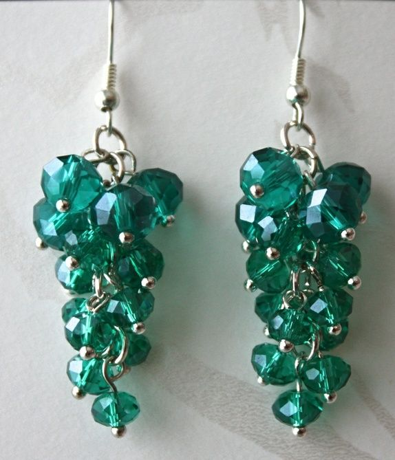 Cluster pearl earrings in ocean green