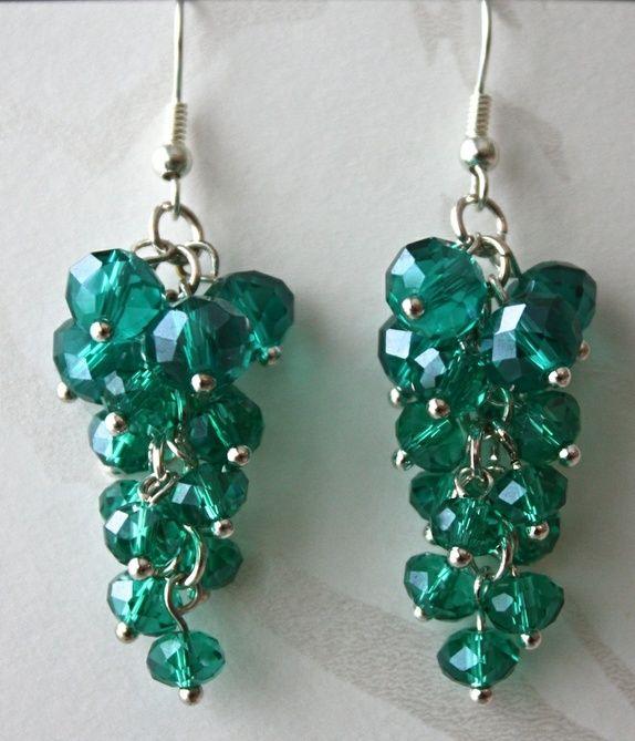 Cluster pearl earrings in ocean green