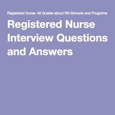 Registered Nurse Interview Questions and Answers
