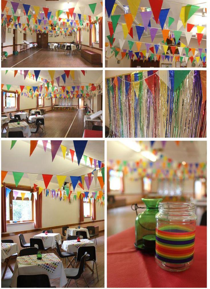 casssiefairys anniversary party rainbow venue decor bunting decoration