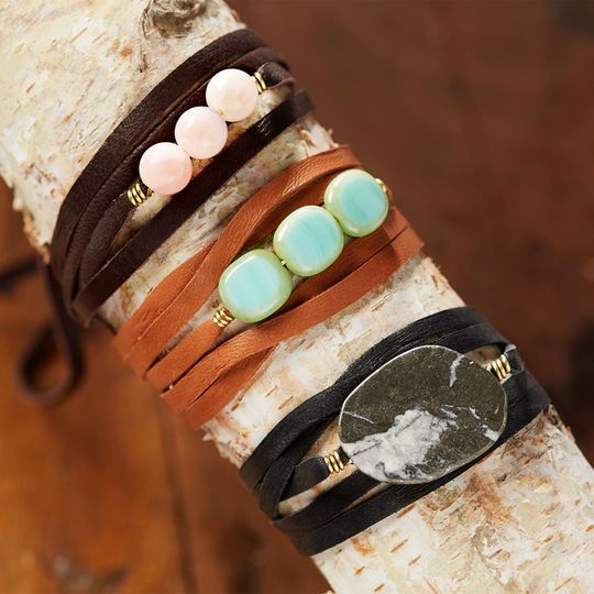 Learn to make your own quick and easy leather & bead bracelets with Bead Gallery beads available at @michaelsstores #MadeWithMichaels