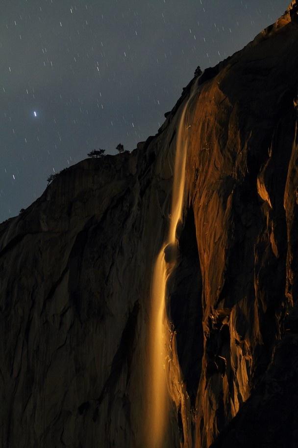 Horsetail Falls under Moonlight, Yosemite National Park, California
