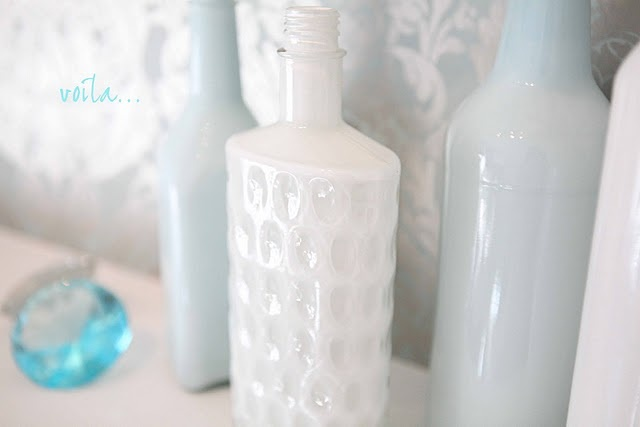 These are amazing! They look like milk glass. @Cynthia Comeaux here's another idea for painting glass.