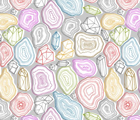 pastel geodes fabric by kristinnohe on Spoonflower - custom fabric- NUMBER 10 of the Geode and Gemstone Design Contest!! CONGRATULATIONS :-)