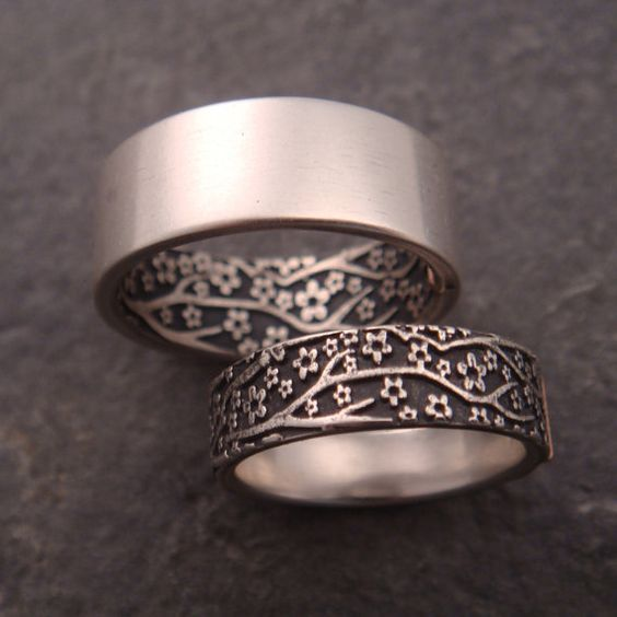 Wedding Ring Set - Opposites Attract Wedding Band Set - Cherry Blossom Pattern in Sterling Silver, 14k Rose Gold Tabs - Handmade