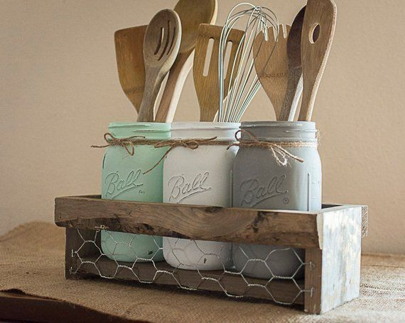 10 Smart Ways To Store Your Kitchen Tools Kitchen Utensil Holder Decorated Jars Vintage Mason Jars