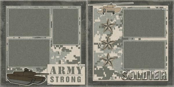 Easy Army Soldier Premade Scrapbook pages! Just add photos to this layout! Complete your scrapbooks easily with our quick pages!