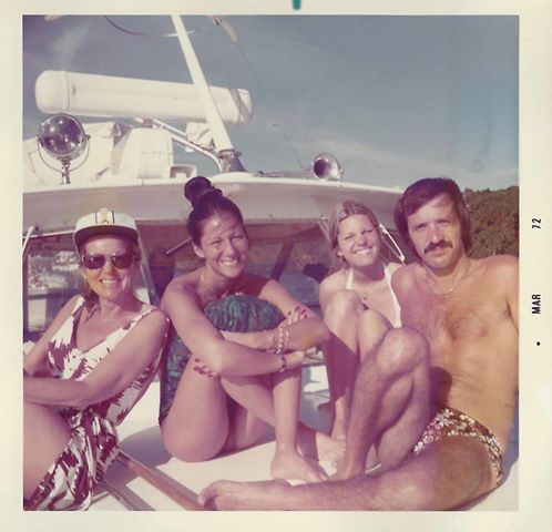 Left to right: Cher's mom, Georgia Holt, Cher, Georganne LaPiere, (Cher's sister) and Sonny Bono having fun in the sun! - March 1972 - This is from the (well till today) private family photo collection - soon to be out in the new book and coordinating DVD that Cher put together about she and her mom.