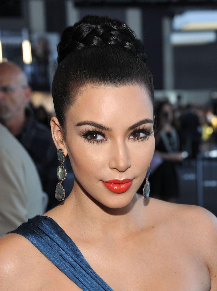 Kim Kardashian Braided Bun | Braided bun hairstyles, Bun ...