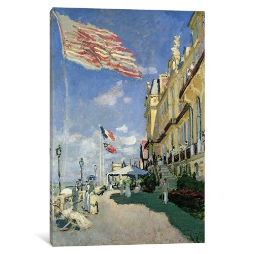 iCanvas The Hotel des Roches Noires at Trouville, 1870 Gallery Wrapped Canvas Art Print by Claude Monet