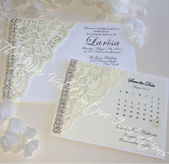 Elegant Glitz And Glamour Vintage Lace Collection 2   White, Ivory U0026 Cream   Couture  Wedding Invitation