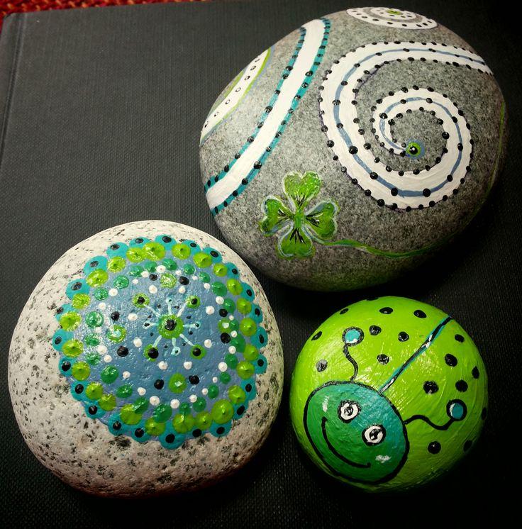 mijn stenen in groen en aqua.