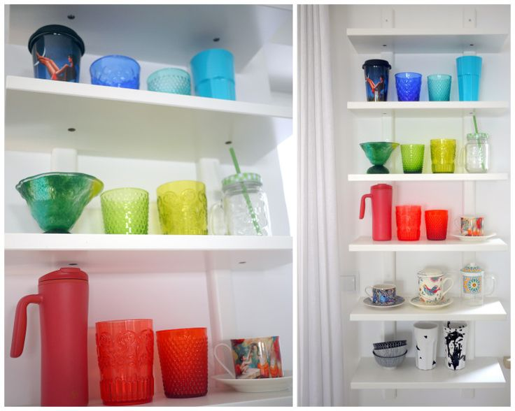 shelves with lots of colourful cups and mugs. Easy DIY to change your kitchen.