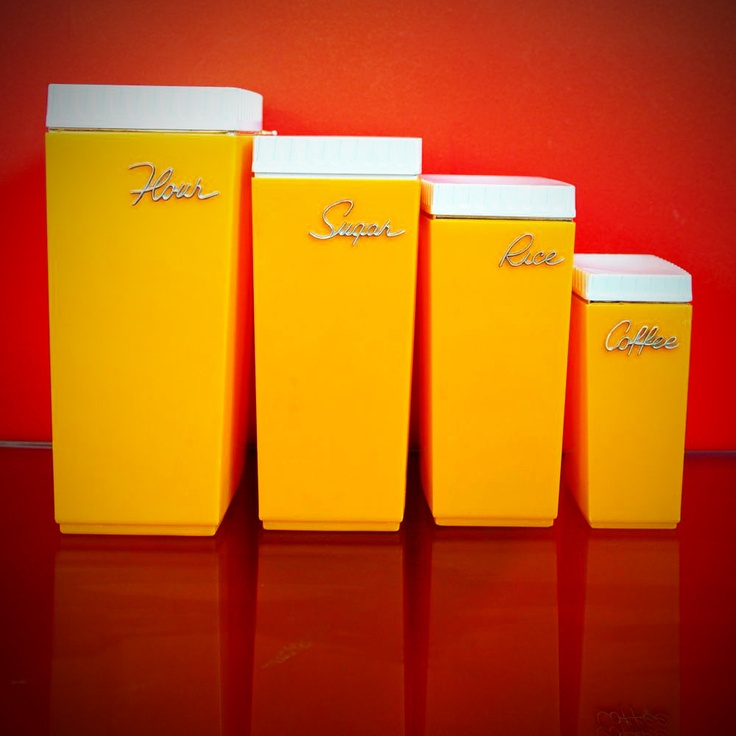 Set Of 4 Vintage Capri Kitchen Canisters   Retro Orange Kitchen Ware    Bakelite