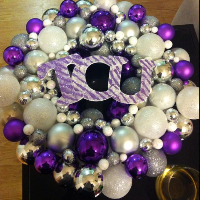 TCU Christmas ornament wreath-making this for Football Season and Christmas