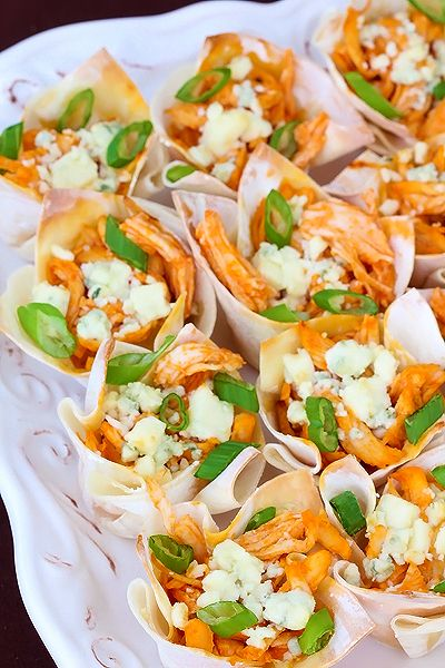 Buffalo Chicken Cups. Pour yourself a beer, turn on the game and devour. Better make a double batch.